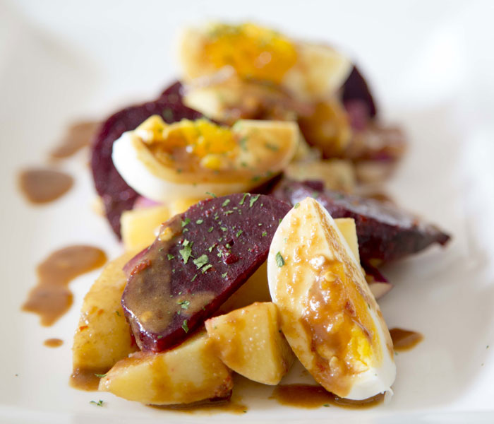 Beetroot and Potato Salad with Chilli and Chicory Dressing